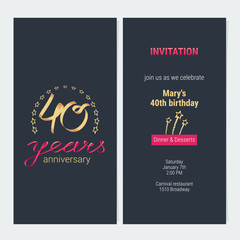 40 years anniversary invitation vector