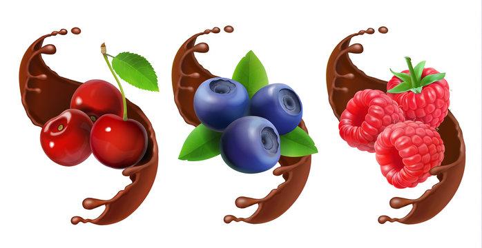 Blueberry, cherry and raspberry in chocolate splash reaistic set