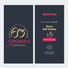 60 years anniversary invitation vector
