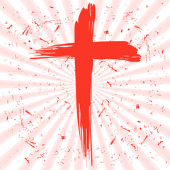 Happe Easter background with cross and resurrection rays