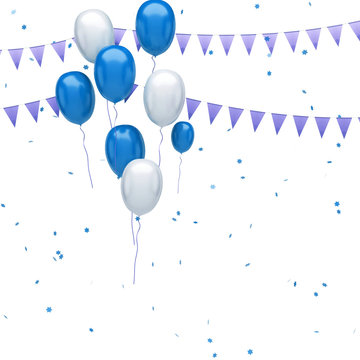 Blue and white balloons on the top left corner with colorful confetti and gold flags isolated on white background. 3D illustration of celebration, party balloons