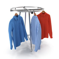 Round Clothing Rack with Shirts on white. 3D illustration