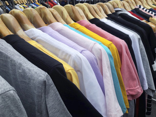 New clothes colorful in a shop store
