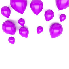 Fuchsia balloons on upstairs with clear shadows isolated on white background. 3D illustration of holidays, party, birthday balloons