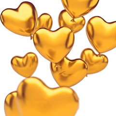 Gold metallic balloons in the shape of heart close-up, isolated on white background. 3D illustration of celebration, party balloons