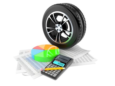 Car wheel with report and pie chart