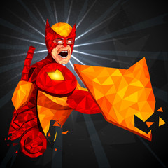 Superhero in abstract low poly polygon style