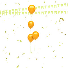 Gold balloons with, gold confetti and flags on the center isolated on white background. 3D illustration of celebration, party balloons