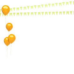 Gold balloons with, flags on the left sight isolated on white background. 3D illustration of celebration, party balloons