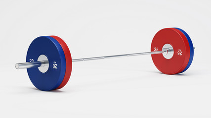 Barbell isolated. Sport inventory on a white background. 3D rendering.