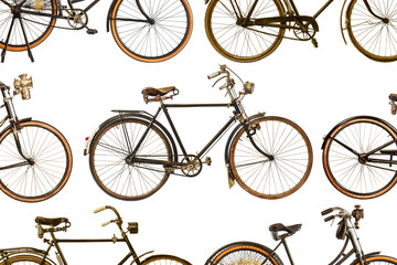 Collection of vintage rusted bicycles