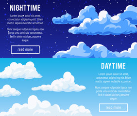 Templates design banners with clouds.
