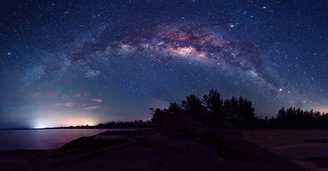 Milky Way Galaxy rise above Kudat, Sabah Sky with stars. Soft focus, noise and grains due to long expose and high ISO.