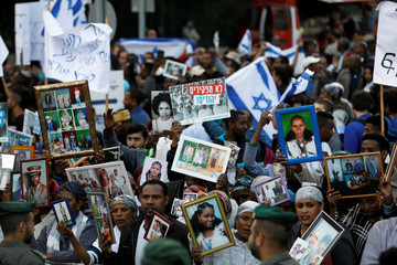 Israelis of Ethiopian descent take part in a protest in Jerusalem