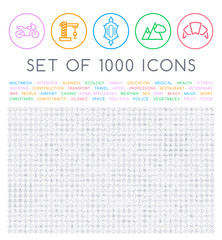 et of 1000 Isolated Minimal Modern Simple Elegant Black Stroke Icons on Circular Buttons on White Background