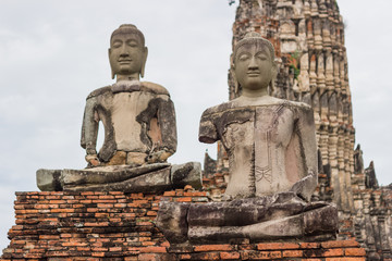 Sitting Buddha - A temple in Ayutthaya In the ruins of the royal temple, which is the most important in the province  Ayutthaya Thailand.