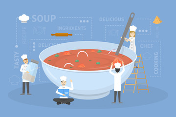 Cooking giant soup.