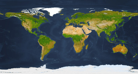 Fototapete - XXL size physical world map illustration. Extra large big map with highest detail avalable.  Primary source, elements of this image furnished by NASA.