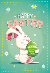 Cute easter bunny carrying a big green egg, on a green background with flowers. vector illustration