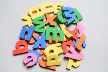 Colorful letters toys on a white background.