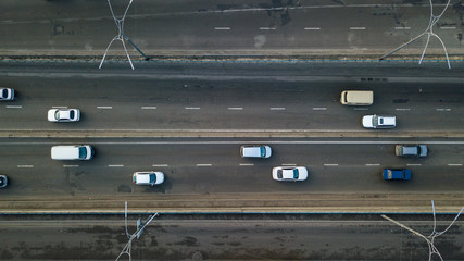 Kiev, Ukraine.- February 02,2018: Aerial view of road automobile traffic of many cars, transportation concept