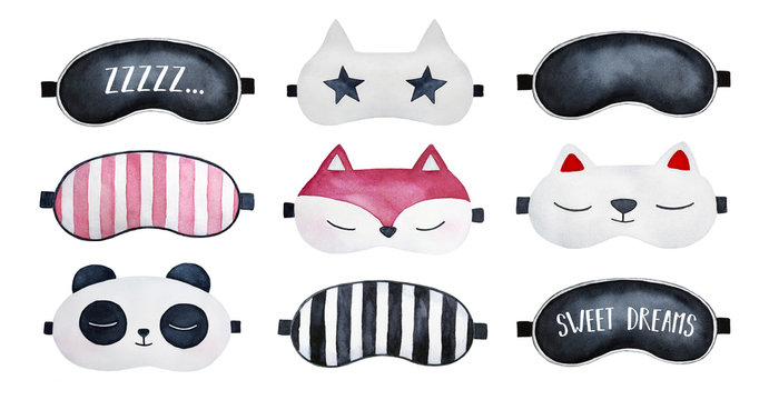 Sleep masks set. Classic black, striped, with sleepy text (zzzzz; sweet dreams), star, animal shaped loungewear; above view. Hand painted watercolour drawing on white background, cutout clip art.