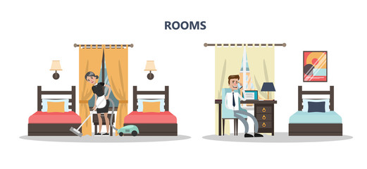 Rooms in hotel.
