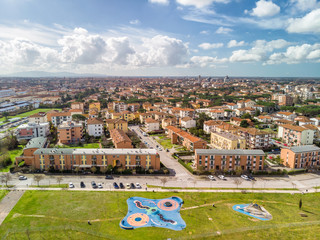 Aerial view of playground at city border