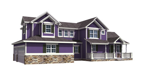 3D Illustration of a house with ultra violet siding