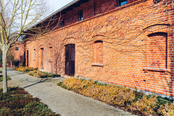 old red brick barn with wooden door surrounded by leafless vines