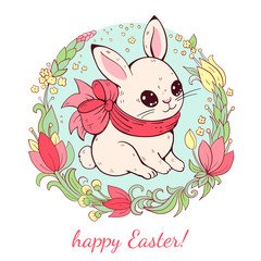 Easter card.  White Easter Bunny with flower.