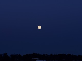 A shining and golden full moon over the pastel colour sky, Espoo, Finland