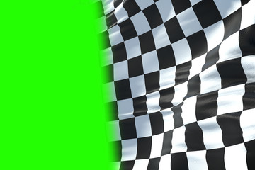 3D rendering, checkered flag, end race background, formula one competition waving with chroma key green screen