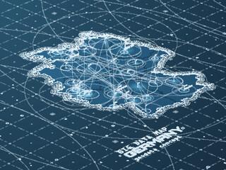 Fotoväggar - Germany map big data visualization. Futuristic map infographic. Information aesthetics. Visual data complexity. Complex Deutschland data graphic visualization. Abstract data on map graph.