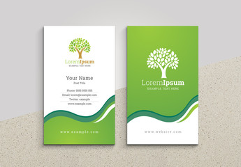 Business Card Layout with Tree Illustration
