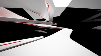 Abstract dynamic black interior with white and red smooth objects. 3D illustration and rendering