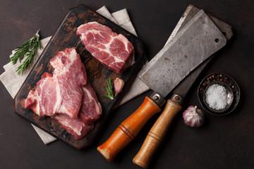 Door stickers Meat Raw pork meat cooking