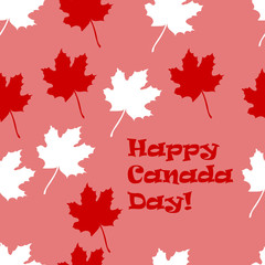 Vector drawn Canada day seamless pattern with white and red maple leaf on pink background.