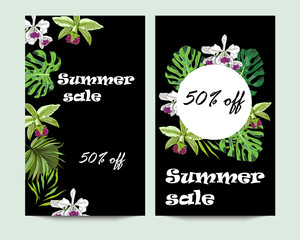 Summer sale vertical vector banners with tropical exotic flowers and leaves on black background.