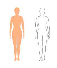 female silhouette (contour) on white background, vector.