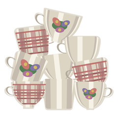 group of vector light ceramic tea cups with cages and flowers made up one on top of another isolated on white background with