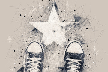 Young person on the road with star shape imprint