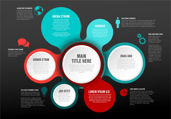 Teal and Red Connected Circles Infographic Layout