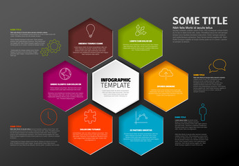 Orange and Green Hexagons Infographic Layout