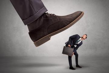 Employee afraid of the big boss foot