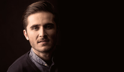 young man close up portrait