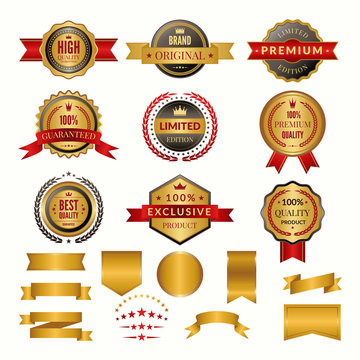 Collection of luxury gold badges and logos. Vector labels set for yours personal design projects