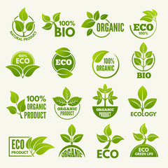 Logos of eco style. Business concepts to protect nature