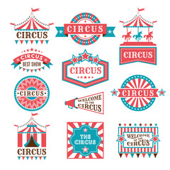 Old badges and labels for carnival and circus show invitation. Monochrome vector logos
