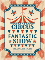 Retro poster. Invitation for circus magic show